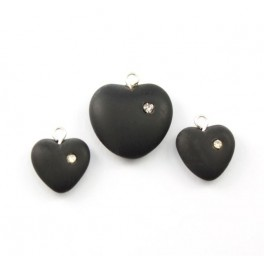Czech crystal beads - 2 Sets of  Pendants and Earrings Hearts Black color