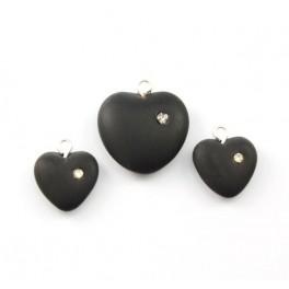 Perles en cristal tchèque - Lot de 2 parures Coeurs Pendentifs et Boucles d'oreille couleur Noire