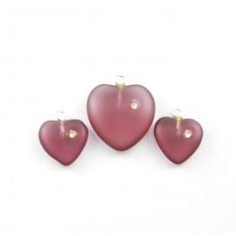 Perles en cristal tchèque - Lot de 2 parures Coeurs Pendentifs et Boucles d'oreille couleur Prune