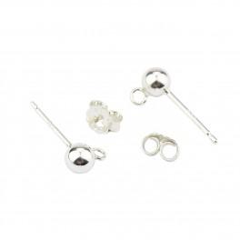 Boucle d'oreille Tige clou boule en Argent Massif 925 Poussoirs adaptés Boule 4mm anneau soudé Pour les créateurs de bijoux