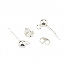 Pair of Earrings Studs 925 Solid Sterling Silver Ball 4 mm with earnuts Findings for jewelry making