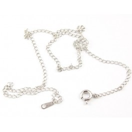 925 Sterling Silver Rhodium plated - Chain ready for use link 2.5 mm