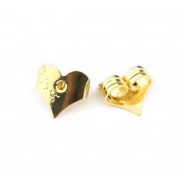 Pair of Ear nuts 18KGP Gold Plated Heart shape For Stud earrings Findings for jewelry creator to make personalized earrings