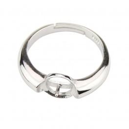 Bague ajustable en Argent Massif 925 Rhodié ornée de zircon Pic pour perle semi percée Création facile de bijoux personnalisés